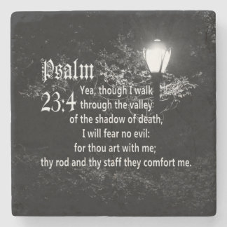 Psalm 23:4  Bible Verse Custom Christian Gift Stone Coaster