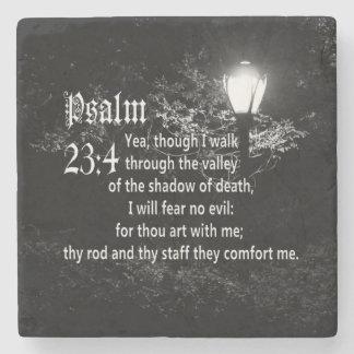 Psalm 23:4  Bible Verse Custom Christian Gift Stone Coaster