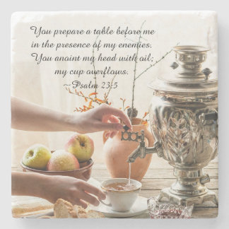 Psalm 23:5 You prepare a table before me, Bible Stone Beverage Coaster