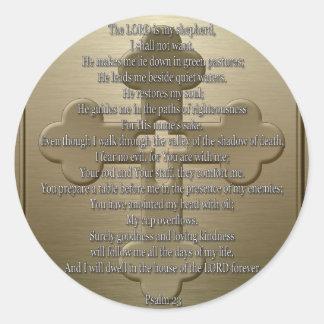 Psalm 23 - Bronze Round Sticker