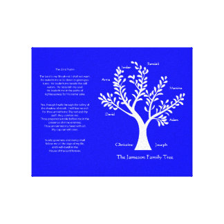 Psalm 23 Family Tree in Brilliant Blue Stretched Canvas Print