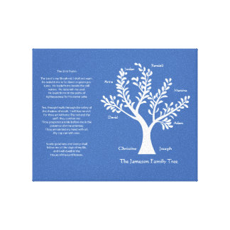 Psalm 23 Family Tree in China Blue Canvas Prints