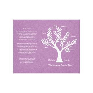 Psalm 23 Family Tree in Deep Lilac Stretched Canvas Print