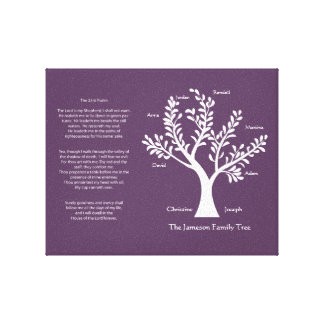 Psalm 23 Family Tree in Deep Purple Gallery Wrapped Canvas