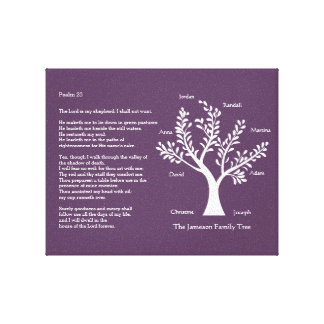 Psalm 23 Family Tree in Deep Purple Stretched Canvas Print