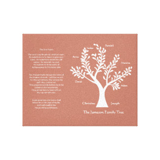 Psalm 23 Family Tree in Melon Stretched Canvas Prints
