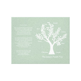 Psalm 23 Family Tree in Pale Green Gallery Wrapped Canvas