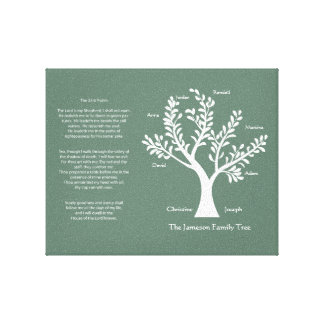 Psalm 23 Family Tree in Pine Gallery Wrap Canvas