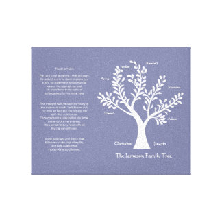 Psalm 23 Family Tree in Purple Vapor Canvas Print