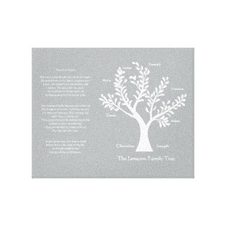 Psalm 23 Family Tree in Warm Gray Stretched Canvas Prints