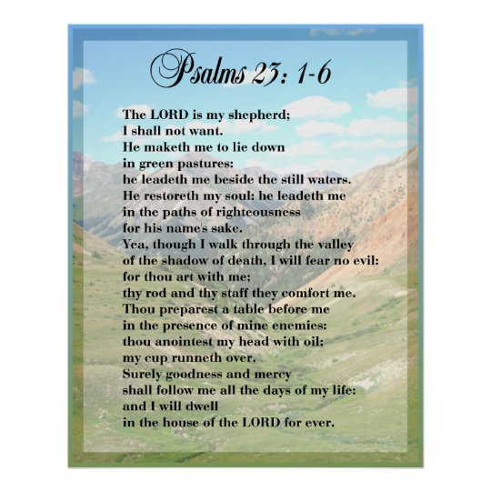 Psalm 23 Framable POSTER PRINT | Zazzle.co.uk