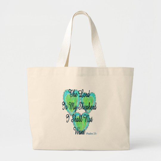 Psalm 23 hearts large tote bag