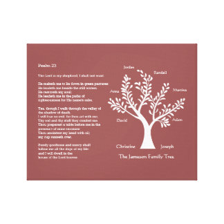 Psalm 23 plus Family Tree Canvas Print