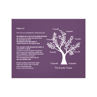 Psalm 23 plus Family Tree Stretched Canvas Print
