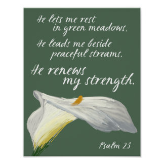 Psalm 23 Scripture Art, Lily Art Bible Verse Print