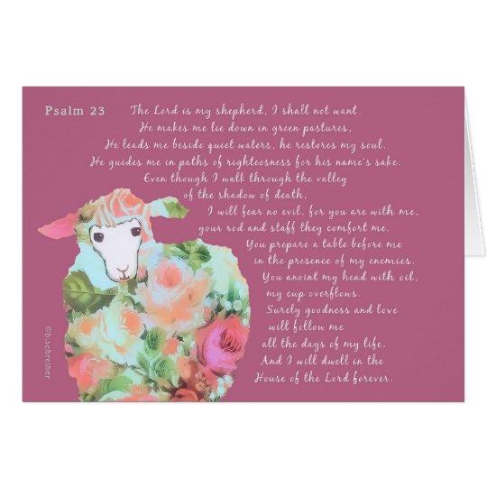 Psalm 23, sheep, honeysuckle background card