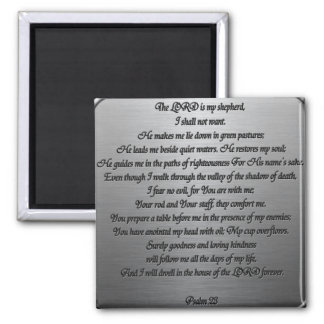 Psalm 23 - Steel Square Magnet