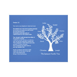 Psalm 23 with Family Tree, Canvas Print
