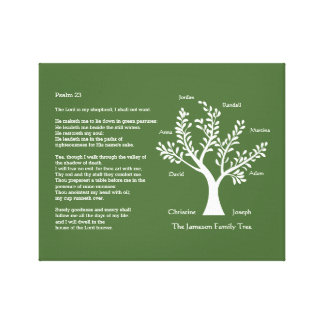 Psalm 23 with Family Tree, Stretched Canvas Print