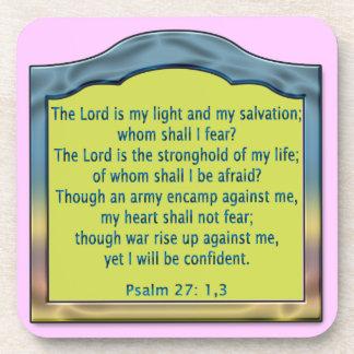 Psalm 27 1, 3 beverage coaster