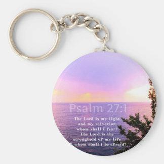 Psalm 27:1 INSPIRATIONAL BIBLE VERSE Basic Round Button Key Ring