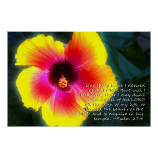 Psalm 27:4 on Dreamy Hibiscus Poster