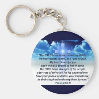 Psalm 28:7-9 basic round button key ring