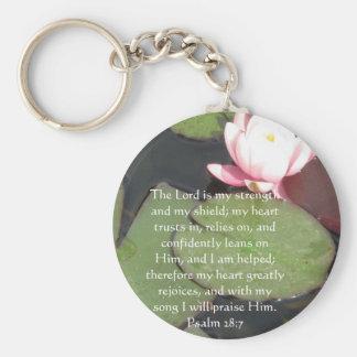Psalm 28:7  beautiful Bible passage Basic Round Button Key Ring