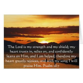 Psalm 28:7  beautiful Bible passage Greeting Card