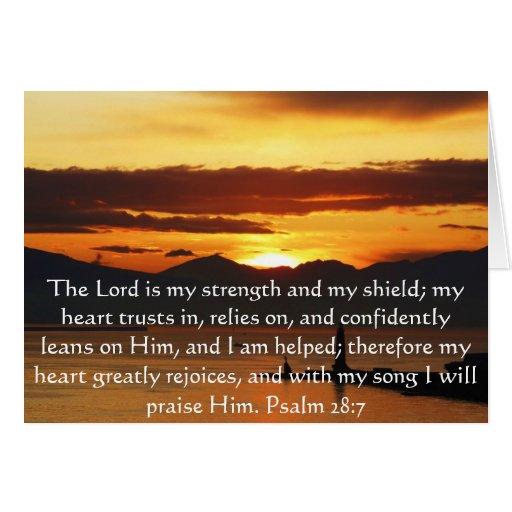 Psalm 28:7  beautiful Bible passage Cards