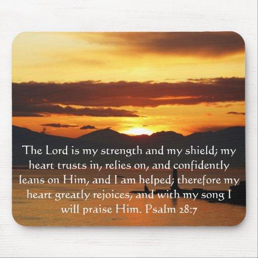 Psalm 28:7  beautiful Bible passage Mousepad