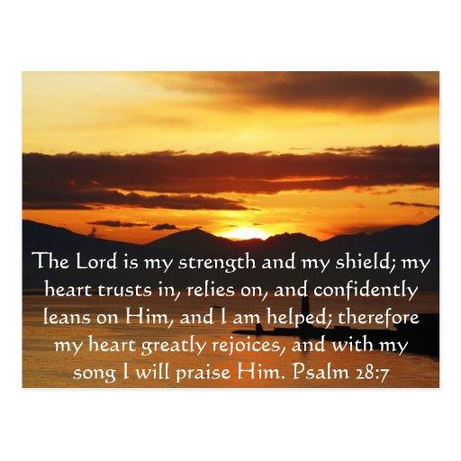 Psalm 28:7  beautiful Bible passage Postcards