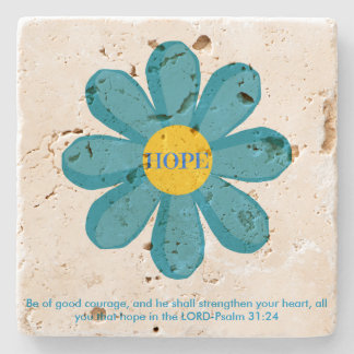 Psalm 31 Blue Hope Flower Travertine Coaster Stone Beverage Coaster