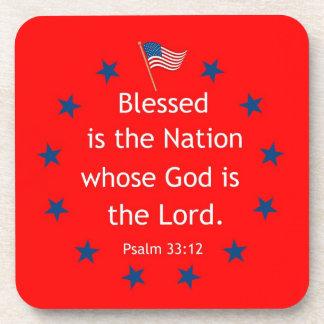 Psalm 33:12 (Patriotic) Beverage Coaster