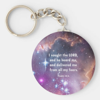 Psalm 34:4 basic round button key ring