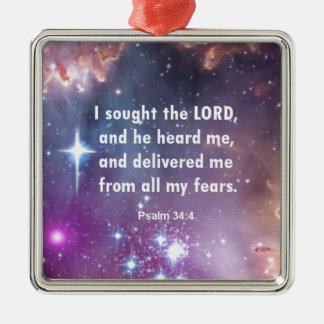 Psalm 34:4 Silver-Colored square decoration