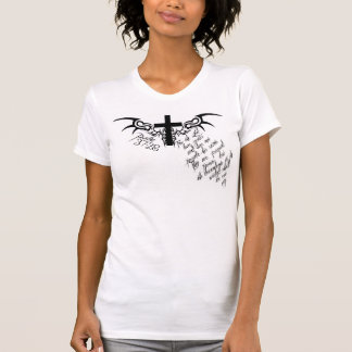 Psalm 37:28 Cross Christian women's destroyed tee