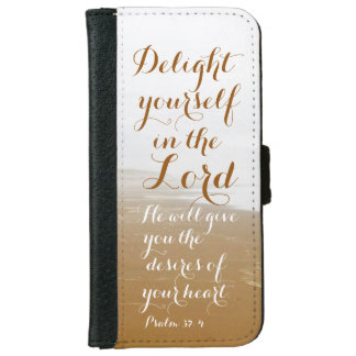 Psalm 37:4 Bible Verse, Sandy Ocean Beach iPhone 6 Wallet Case