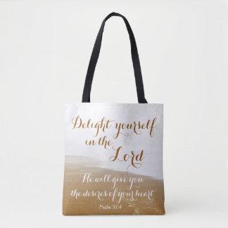 Psalm 37:4 Bible Verse, Sandy Ocean Beach Tote Bag
