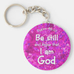 Psalm 46:10 Be Still & Know Pink Bible Verse Quote Basic Round Button Key Ring