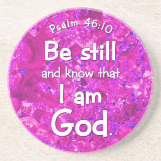 Psalm 46:10 Be Still & Know Pink Bible Verse Quote Sandstone Coaster