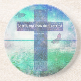 Psalm 46:10  Encouraging Bible Verse Drink Coasters