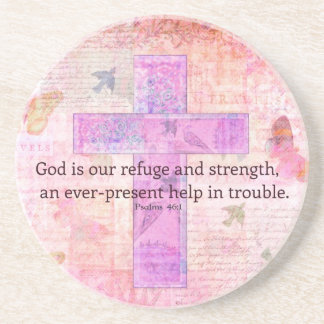 Psalm 46 1-3 Encouraging Bible Verse Coaster