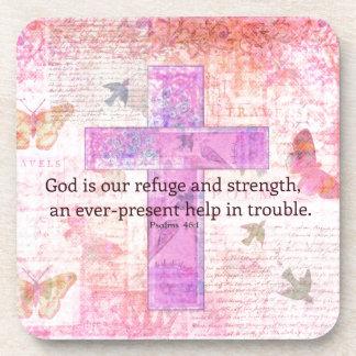 Psalm 46:1-3 Encouraging Bible Verse Drink Coaster