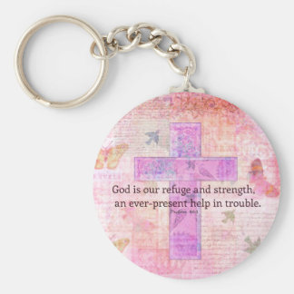 Psalm 46:1-3 Encouraging Bible Verse Key Ring