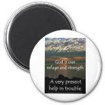 Psalm 46:1 - Beautiful Sunrise over Lake Michigan 6 Cm Round Magnet