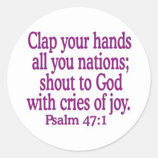 Psalm-47-1 Classic Round Sticker