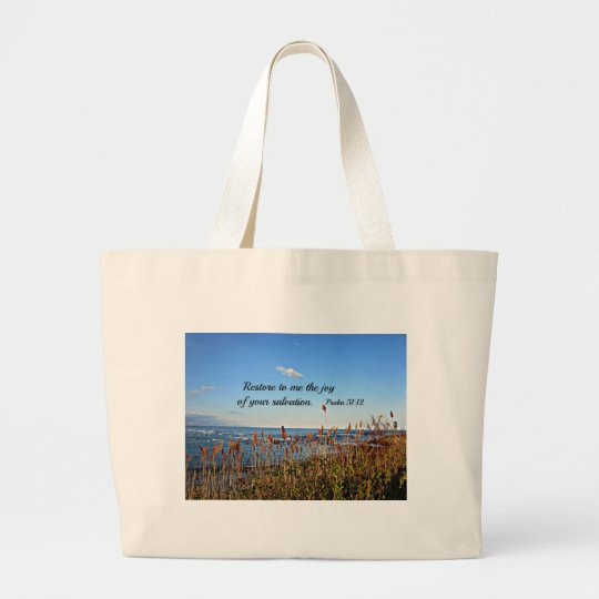Psalm 51:12 large tote bag