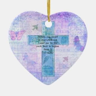 Psalm 61:2 Beautiful Bible verse & Christian art Ceramic Heart Decoration