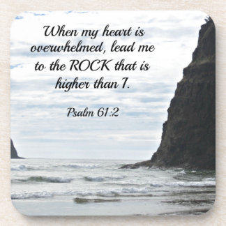 Psalm 61:2 When my heart is overwhelmed... Beverage Coaster